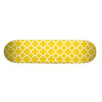 Yellow Quatrefoil Trellis Pattern Skateboard Deck