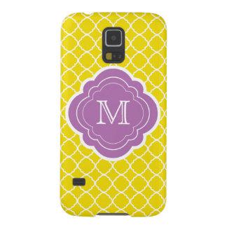Yellow Quatrefoil with Purple Monogram Galaxy Nexus Cases