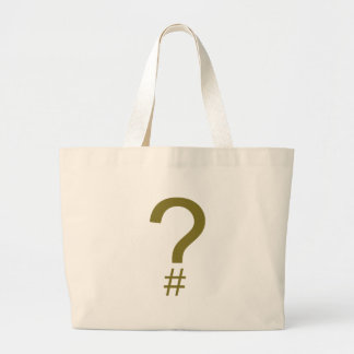 Yellow Question Tag/Hash Mark Large Tote Bag