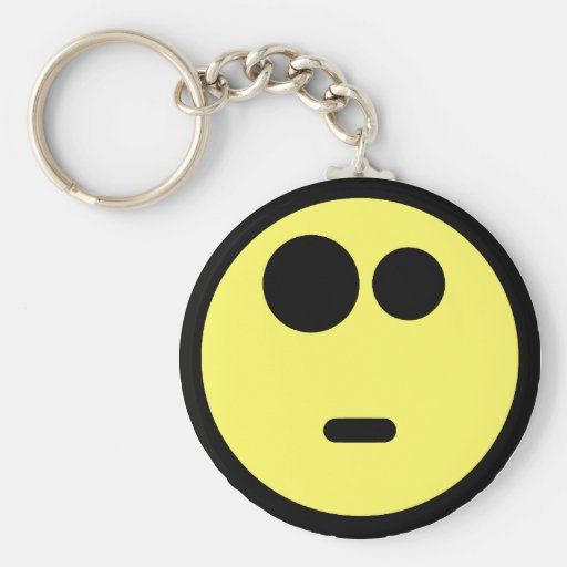 Yellow Questioning Smiley Face Key Chains