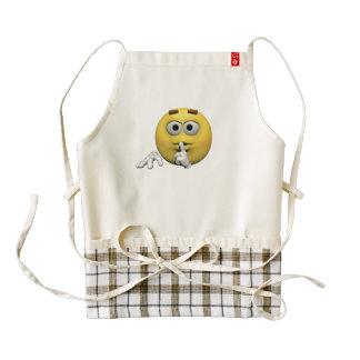 Yellow quiet emoticon or smiley zazzle HEART apron