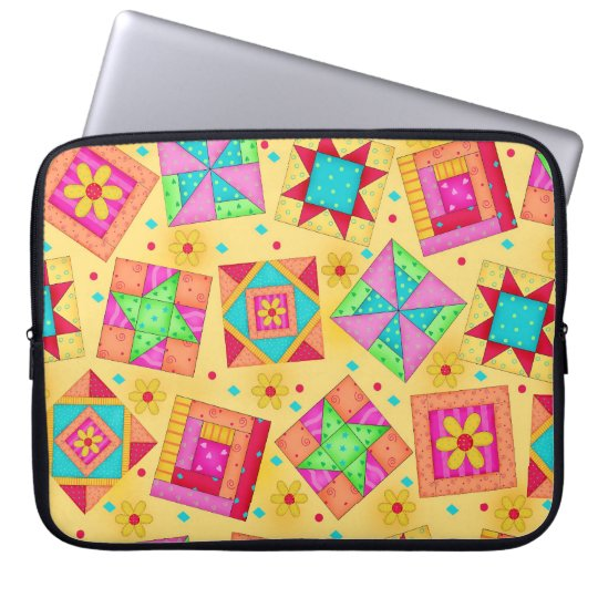 Yellow Quilt Block Art Laptop Sleeve