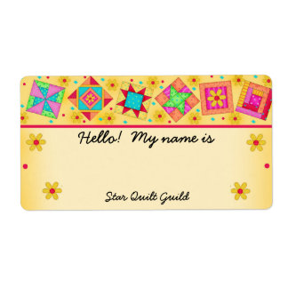 Yellow Quilt Blocks Quilters Name Tag Label
