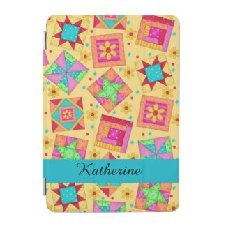 Yellow Quilt Patchwork Block Name Personalized iPad Mini Cover