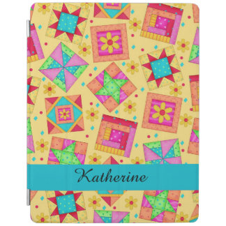 Yellow Quilt Patchwork Block Name Personalized iPad Cover