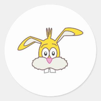 Yellow Rabbit head Classic Round Sticker