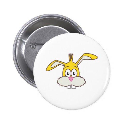 Yellow Rabbit head Pinback Buttons