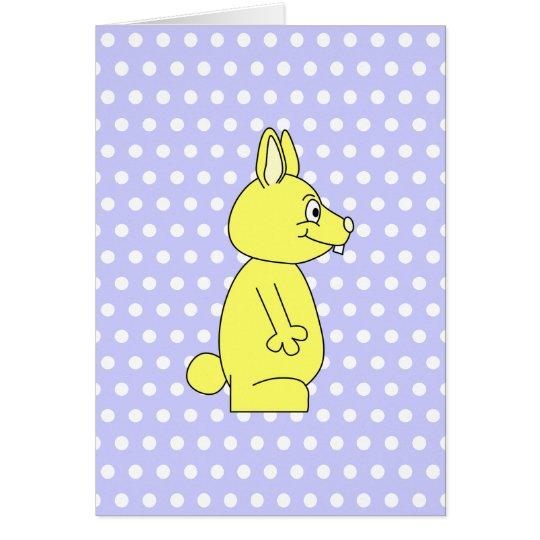 Yellow Rabbit on Purple Dot Pattern Card