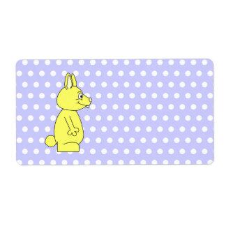 Yellow Rabbit on Purple Dot Pattern Shipping Label