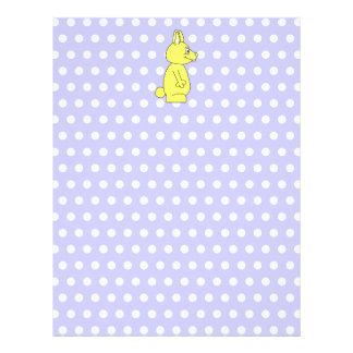 Yellow Rabbit on Purple Dot Pattern Customized Letterhead