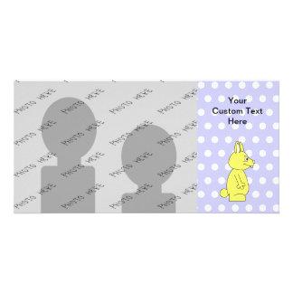 Yellow Rabbit on Purple Dot Pattern Custom Photo Card