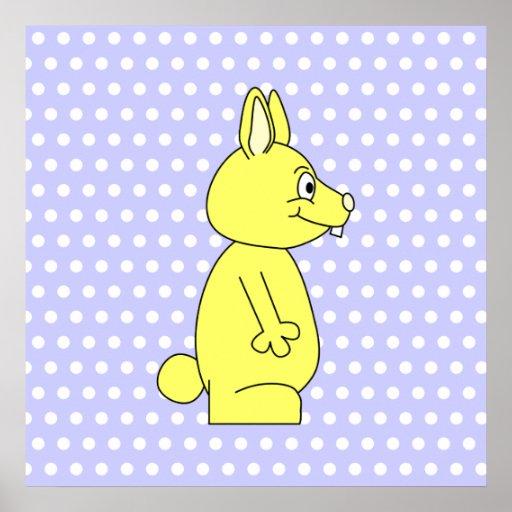 Yellow Rabbit on Purple Dot Pattern Poster