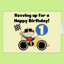 Yellow Race Car 1st Birthday T-shirts and Gifts Card