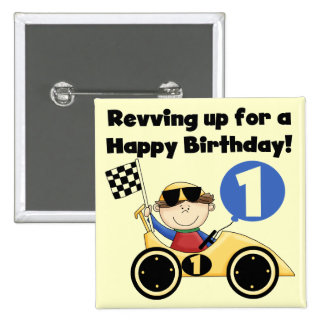 Yellow Race Car 1st Birthday T-shirts and Gifts Pinback Button