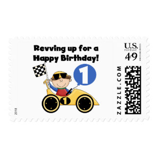 Yellow Race Car 1st Birthday T-shirts and Gifts Stamps