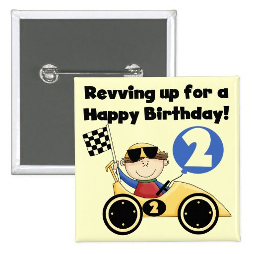 Yellow  Race Car 2nd Birthday Tshirts and Gifts Pinback Buttons