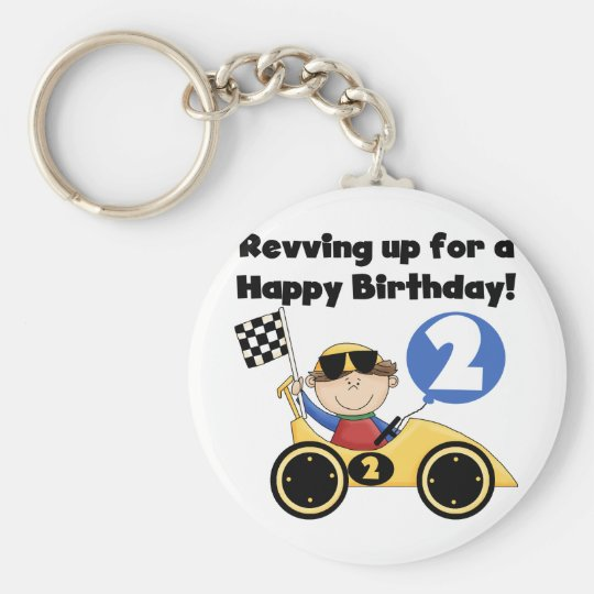 Yellow  Race Car 2nd Birthday Tshirts and Gifts Keychain