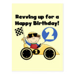 Yellow  Race Car 2nd Birthday Tshirts and Gifts Postcards
