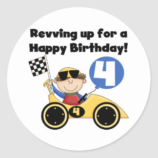 Yellow Race Car 4th  Birthday Tshirts and Gifts Classic Round Sticker