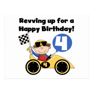 Yellow Race Car 4th  Birthday Tshirts and Gifts Postcard