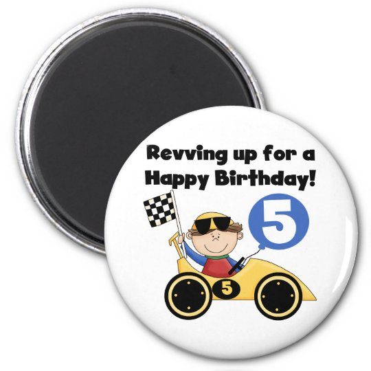 Yellow Race Car 5th  Birthday Tshirts and Gifts Magnet