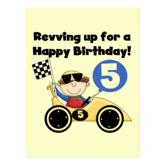 Yellow Race Car 5th  Birthday Tshirts and Gifts Post Card