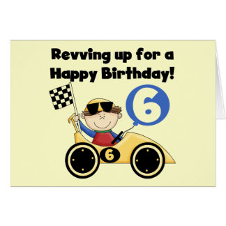 Yellow Race Car 6th Birthday Tshirts and Gifts Card