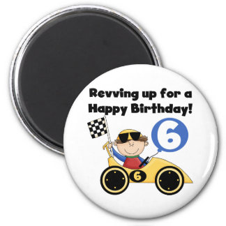 Yellow Race Car 6th Birthday Tshirts and Gifts Magnet