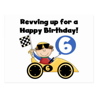 Yellow Race Car 6th Birthday Tshirts and Gifts Postcard