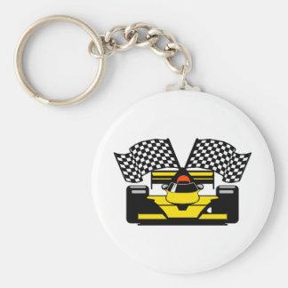 YELLOW RACE CAR BASIC ROUND BUTTON KEYCHAIN