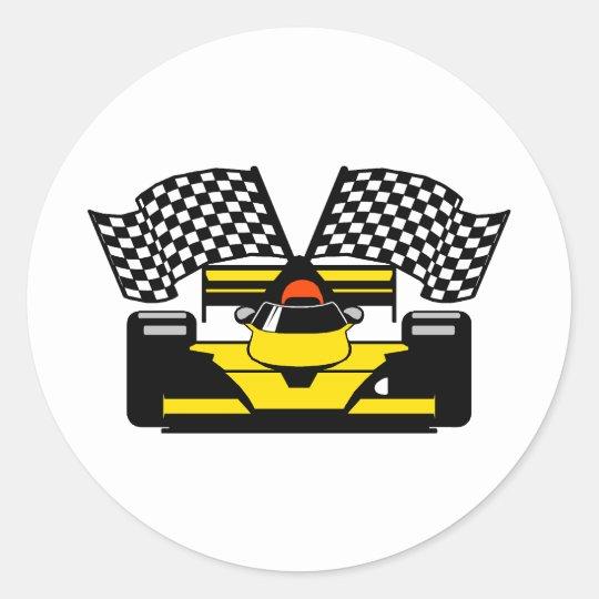 YELLOW RACE CAR CLASSIC ROUND STICKER