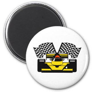 YELLOW RACE CAR MAGNET