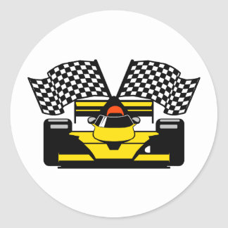 YELLOW RACE CAR STICKERS