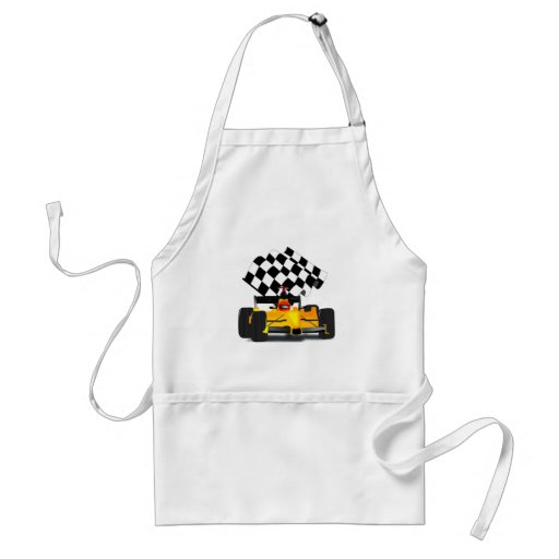 Yellow  Race Car with Checkered Flag Aprons