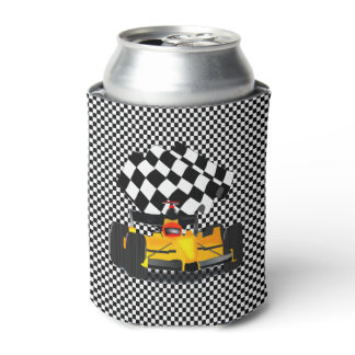 Yellow  Race Car with Checkered Flag Can Cooler