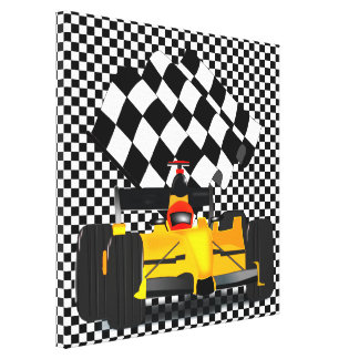 Yellow  Race Car with Checkered Flag Canvas Print