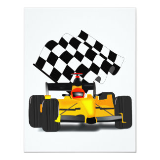 Yellow  Race Car with Checkered Flag Card