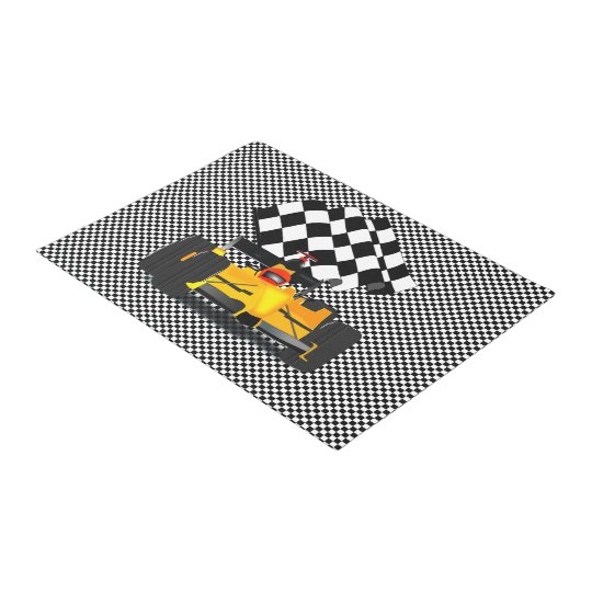Checkered Flag Rug: Yellow Race Car With Checkered Flag Doormat