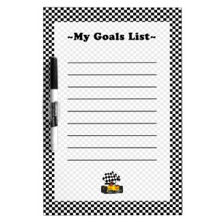 Yellow Race Car with Checkered Flag Dry Erase Board