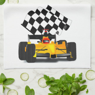 Yellow  Race Car with Checkered Flag Hand Towels
