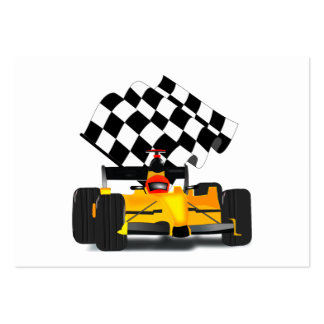 Yellow  Race Car with Checkered Flag Large Business Card
