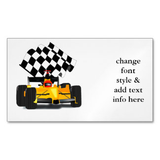 Yellow Race Car with Checkered Flag Magnetic Business Card