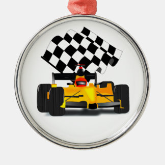 Yellow  Race Car with Checkered Flag Metal Ornament