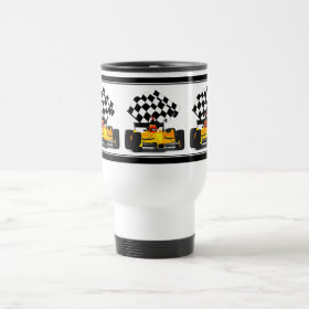 Yellow  Race Car with Checkered Flag 15 Oz Stainless Steel Travel Mug