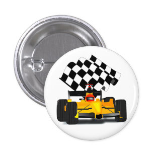 Yellow  Race Car with Checkered Flag Pinback Button