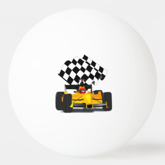 Yellow  Race Car with Checkered Flag Ping-Pong Ball