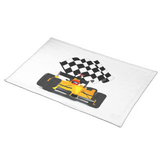 Yellow  Race Car with Checkered Flag Placemat