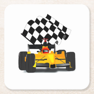 Yellow  Race Car with Checkered Flag Square Paper Coaster