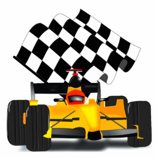 Yellow  Race Car with Checkered Flag Statuette
