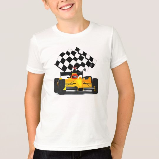 Yellow  Race Car with Checkered Flag T-Shirt